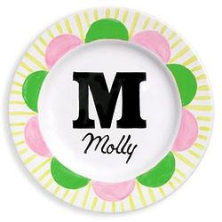 Baby's Personalized Monogram Plate in Green and Pink