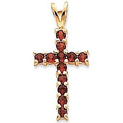 14kt Yellow Gold Garnet Cross Pendant