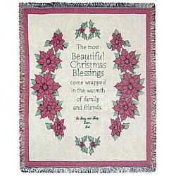 Personalized Christmas Pointsettia Throw