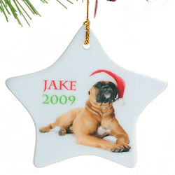 Star Shaped Porcelain Personalized Christmas Ornament