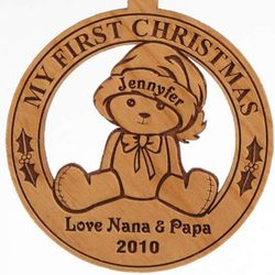 Personalized Wooden Teddy Bear Christmas Ornament