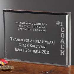 #1 Coach Personalized Sports Plaque