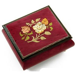 Red Wine Music Jewelry Box with a Floral Wood Inlay