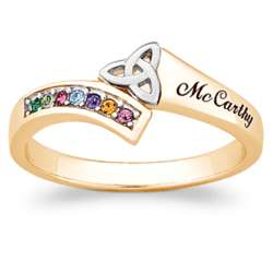Trinity Knot Birthstone and Family Name Ring