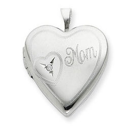 Sterling Silver Diamond Mom Heart Locket