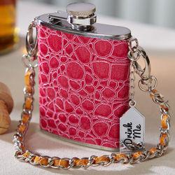 Pink Crocodile Mini Flask