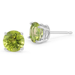 14 Karat White Gold Peridot Stud Earrings