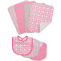 Pink and White Burp Cloth and Bib Set
