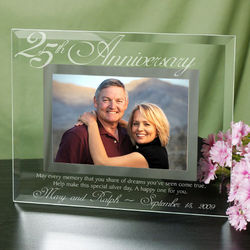 25th Anniversary 4x6 Glass Picture Frame