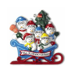 Snowmen in Sleigh Personalized Christmas Ornament