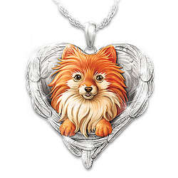 Pomeranians are Angels Heart-Shaped Engraved Pendant
