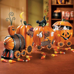 Resin Pumpkin Halloween Train
