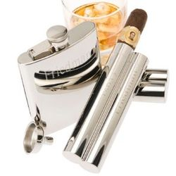 Personalized Mirrored Chrome Flask and Double Finger Cigar Holder