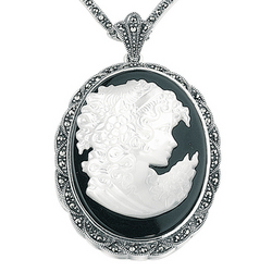 Silver Marcasite and Onyx Cameo Locket Pendant