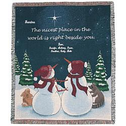 Personalized Snowman Beside You Tapestry