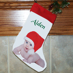 Photo and Text Personalized Christmas Stocking