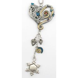 Engraved Pewter & Enamel Heart Ornament
