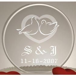 Monogram Love Birds Wedding Cake Topper