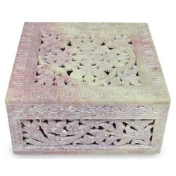 Floral Garland Soapstone Jewelry Box