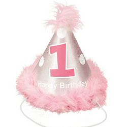 Girl's Pink 1st Birthday Cone Hat