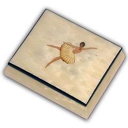White Ballerina Musical Jewelry Box