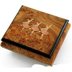 Natural Tone Music Box with Ballerinas