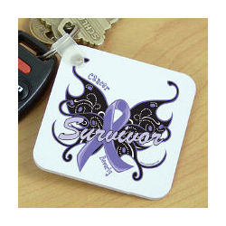 Cancer Survivor Butterfly Key Chain