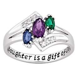 Sterling Silver Daughter's Birthstone and Cubic Zirconia Ring