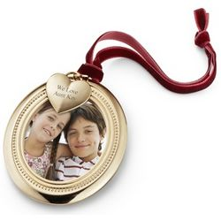 Gold Oval Photo Frame Christmas Ornament