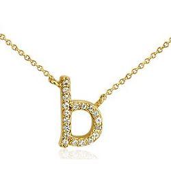White Sapphire Mini Initial B Necklace