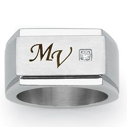 Men's Cubic Zirconia Stainless Steel Personalized Block Ring
