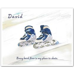 Roller Blades Watercolor Personalized Art Print