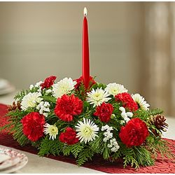 Traditional Christmas Floral Centerpiece