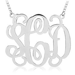 Extra Large Script Monogram Necklace in Gold or Sterling Silver