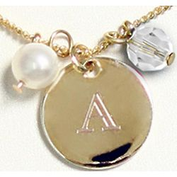 Personalized Crystal and Pearl Necklace