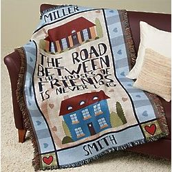 Personalized Road Between Friends Throw Blanket