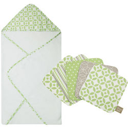 Lauren Design Baby Bathtime Hooded Towel and Washcloths Set