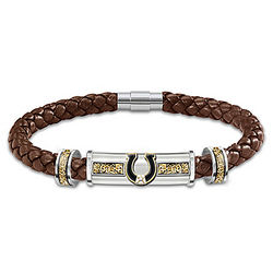 Western Pride Braided Leather Bracelet with White Topaz