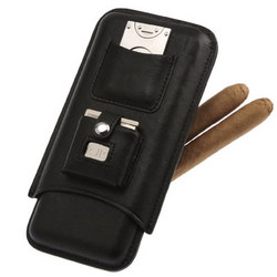 Personalized Triple Cigar Holder with Lighter & Cutter