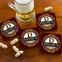Personalized Classic Tavern Coaster Set