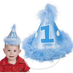 Boy's 1st Birthday Cone Hat