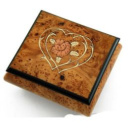 Musical Jewelry Box with Flower and Double Heart Outline