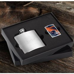 NFL Zippo Lighter and Personalized Brushed Flask Gift Set