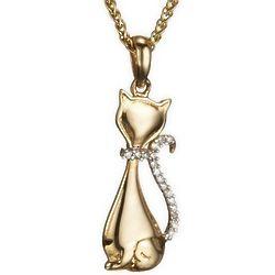 Diamond Cat Pendant in 14 Karat Gold