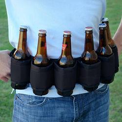Deluxe Black Six-Pack Beer Belt Holster