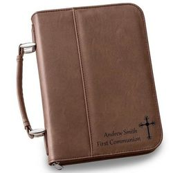 Large Personalized Dark Brown Bible Case