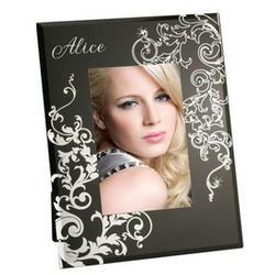 Silver Swirl Black Glass Photo Frame