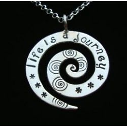 Life is a Journey Hand Stamped Spiral Pendant Necklace