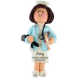 Graduation Ornament Brunette Nurse Wearing Stethoscope