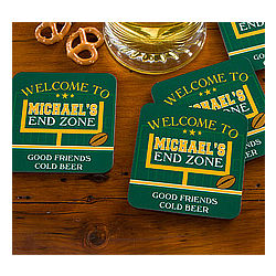 Personalized End Zone Football Coasters